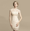 Hot Sale Cap Sleeve Party Dresses Champagne Applique Short