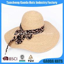 Latest Design Wide Brim Raffia straw machine sew Lady beach hat