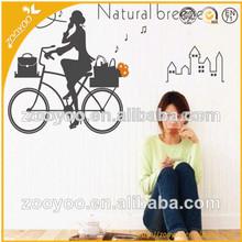 New Hot Sale Vinyl Custom Wall decal home decor decorative Wall sticker house Wallpaper home accessories woman bike