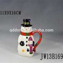 snowman shape ceramic mug with lid,snowman coffee mug