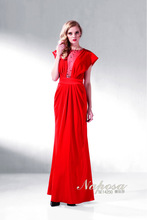 2014 sexy short sleeve red simple lace and beading long evening dress