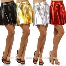 hot leather club wear metallic shiny circle liquid mini wet look leather skirt