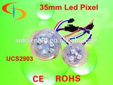 Programmable rgb 35mm led pixel node 24v, DMX control rgb led pixels string