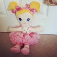 "18"" beautiful handmade printed stuffed printed fabric girl doll with pink bowknot&skirt"