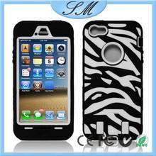 Hard Hybrid Case Cover Black White Zebra Black Silicone TUFF case for Apple iPhone 5/5s