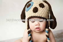 Soonest delivery Plain Knitted Animal dog Baby Hat Baby Crochet Earflap Hat custom Knitted cap