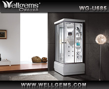 Indoor wood one person sauna steam room with shower