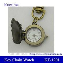 Bronze Flip Open Spider Keychain Watch