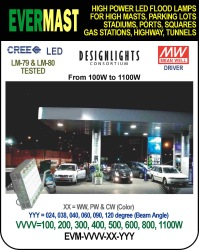 GAS STATION LED LIGHTS, 100W TO 1100W, DLC, EVERMAST SERIES