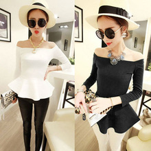 Women Sexy Fit-and-flare Ruffled Hem Zip Long Sleeves off the shoulder blouses top