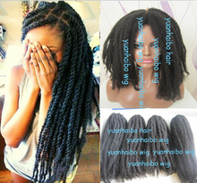 "stocking ! wholesale cheap 20""#1 jet black synthetic hair afro kinky marley braid extension for black women"