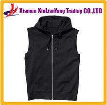 wholesale black mens sleeveless hoody blank mens sleeveless hoodies