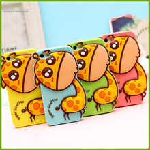 Hot selling cartoon giraffes silicone mobile phone case for iphone5s, lovely cell phone cover for iphone4s