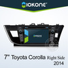 7inch TFT HD touch screen gps dvd player with bluetooth ipod usb sd 3g for 2014 Toyota Corolla right side