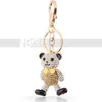 Animal Crystal Key Chain for Girls Bowknot Toy Bear Cool Guy Moveable Bag Hanging Accessories