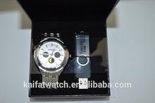 fashion japan movement quartz men USB flash disk and watches gift set men gift set