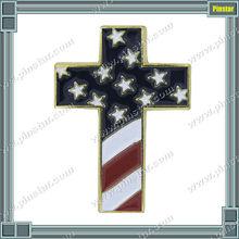 Custom Made Religious Pins Christian Cross Special Design Pin Badge with USA Flag
