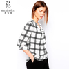 Chiffon tops long sleeves sheer light weight in woven check fabrics with drape neck popular for ladies