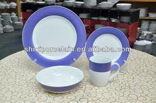 2014 16pcs deep purple color rim germany dinner set porcelain