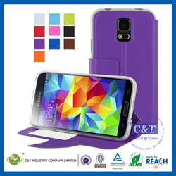 Newest Style Factory Direct OEM Colored stand flip wallet leather case cover for galaxy s5