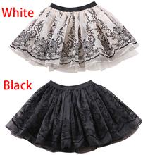 sexy women in short mini skirts Chiffon Ladies Retro Cute Short Organza Embroidery skirt