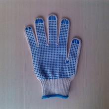 pvc dotted working glove/cotton cloth working gloves