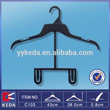 2014 hot sale plastic hangers black plastic baby's coat/suit hanger with ps material, plastic children hangers