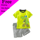 latest dress design clothing wear Dinosaur outfit boy green top grey pants Free shipping