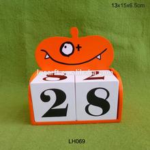 Halloween calendar, wooden pumpkin advent calendar blocks