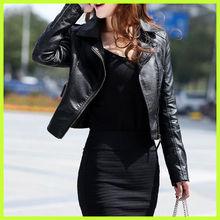 N4001 popular black women leather jacket autumn european fashion coats for ladies