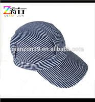 Blue White Striped Train Engineer Farmer Cap Snapback Hat