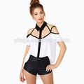 off ombro branca de manga curta blusa chiffon mulheres vestuário fábricas na china