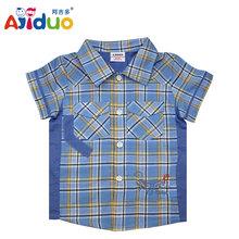 Ajiduoชื่อแบรนด์เสื้อผ้าเด็กเด็กสวมใส่ในช่วงฤดูร้อนเด็กเสื้อลายสก๊อตtops1- 6ปีเด็กสวมใส่