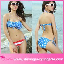 xxx sexo caliente de la bandera americana franja superior acolchada scrunch bikini a tope