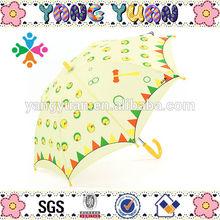 Curve Handle Yellow Polyester Chicken Print Umbrella