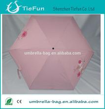 19 inch x 6 k manual open mini 5 fold umbrella black and pink umbrella