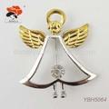 prata anjo com asas de ouro broche de natal