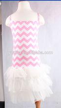 2014 new pink chevron white chiffon frock dress fashion little girls dress puffy ruffled chiffon girls dresses chevron design