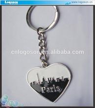 Europe style metal white black heart key ring charm
