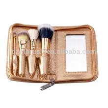 4pcs high quality make up brush kit with golden bag wool hair make up mirror