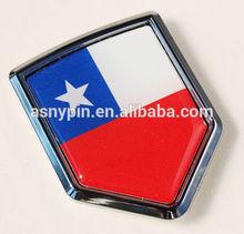 Chile Flag Car Chrome Emblem, Printed Flag Decal Sticker