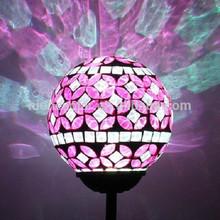 Solar Power Pink Mosaic Glass Ball Garden Light