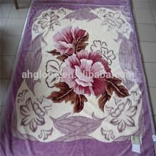 purple home woven raschel blanket with flower printing
