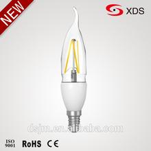 Warm white High lumen led flame candle / e14 clear led candle bulb / 3w led candle e14