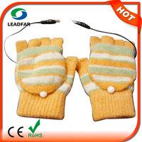 Laptop USB Heating Winter Warm Hot Hands Gloves Heated Warmer Woolen Fingerless