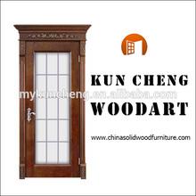 Solid Walnut Wood Door of European Style Carvings/Wood Glazed Door/Solid Timber Interior Dood