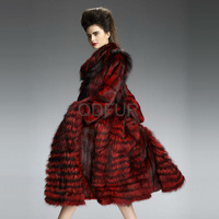 QD29202 Winter High Quality Woman Desigual Clothes Red Fox Fur Coat with Mink Fur Collar and Sleeves Coat Women's