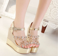 wedge sandals fashion golden women shoes 2014 PY2928