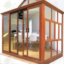 Wooden color aluminum sun room glass room