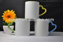 HOT SALE!!! edge color with heart shape handle blank sublimation mugs/ceramic travel mug